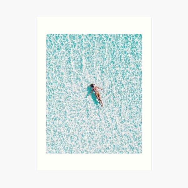 Coastal, Blue water, Beach art Sea, Ocean, Girl, Woman, Fashion art, Modern art, Wall art, Print, Minimalistic, Modern Art Print