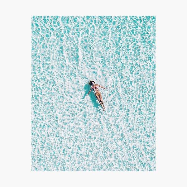 Coastal, Blue water, Beach art Sea, Ocean, Girl, Woman, Fashion art, Modern art, Wall art, Print, Minimalistic, Modern Photographic Print