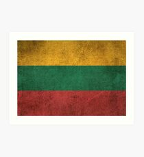 Old and Worn Distressed Vintage Flag of Lithuania Art Print