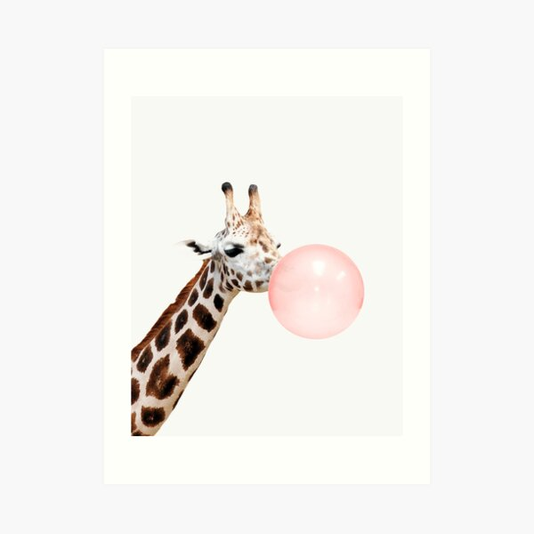 Giraffe print, Bubble gum, Nursery art, Giraffe wall art, Animal, Kids room, Modern art, Wall decor Art Print