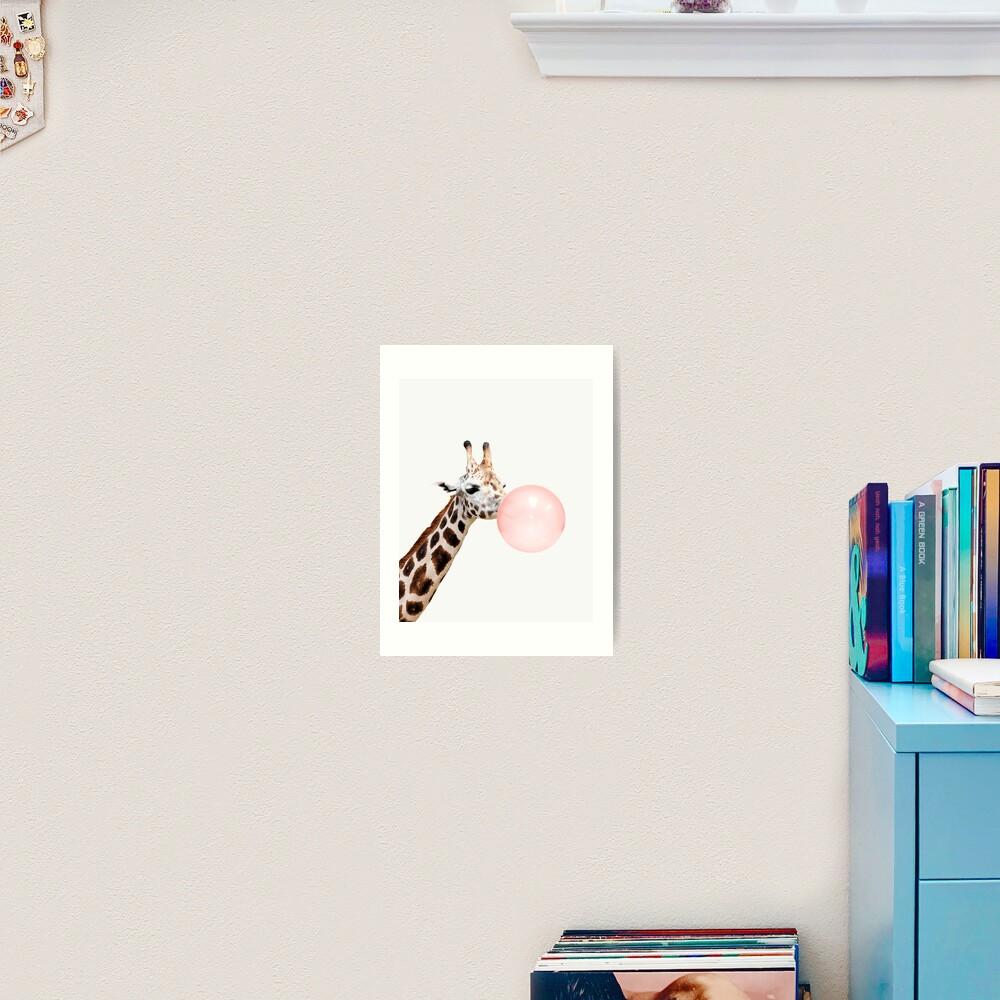Giraffe print, Bubble gum, Nursery art, Giraffe wall art, Animal, Kids room, Modern art, Wall decor Art Print