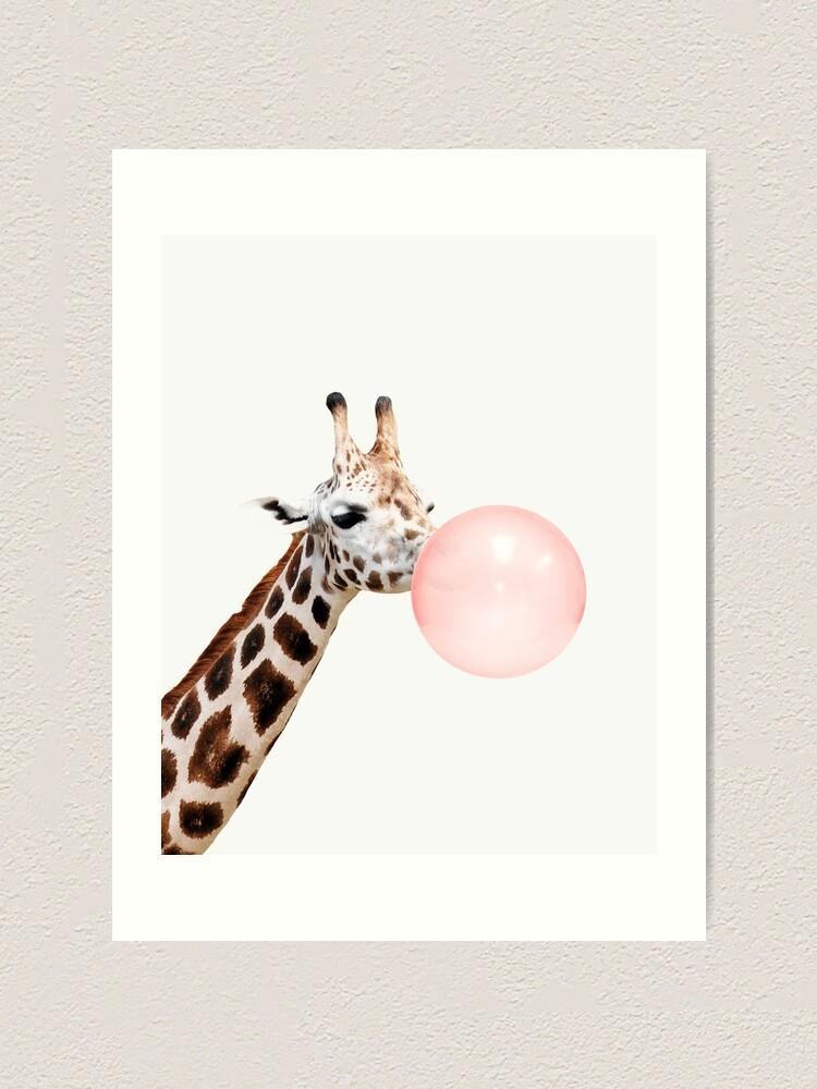 Alternate view of Giraffe print, Bubble gum, Nursery art, Giraffe wall art, Animal, Kids room, Modern art, Wall decor Art Print