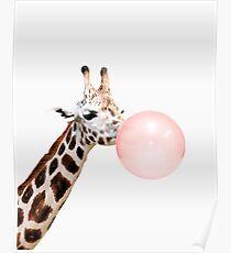 Giraffe print, Bubble gum, Nursery art, Giraffe wall art, Animal, Kids room, Modern art, Wall decor Poster