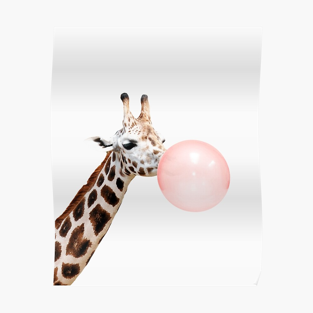Giraffe print, Bubble gum, Nursery art, Giraffe wall art, Animal, Kids room, Modern art, Wall decor Poster
