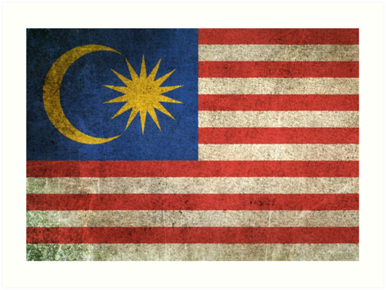 Old and Worn Distressed Vintage Flag of Malaysia by jeff bartels