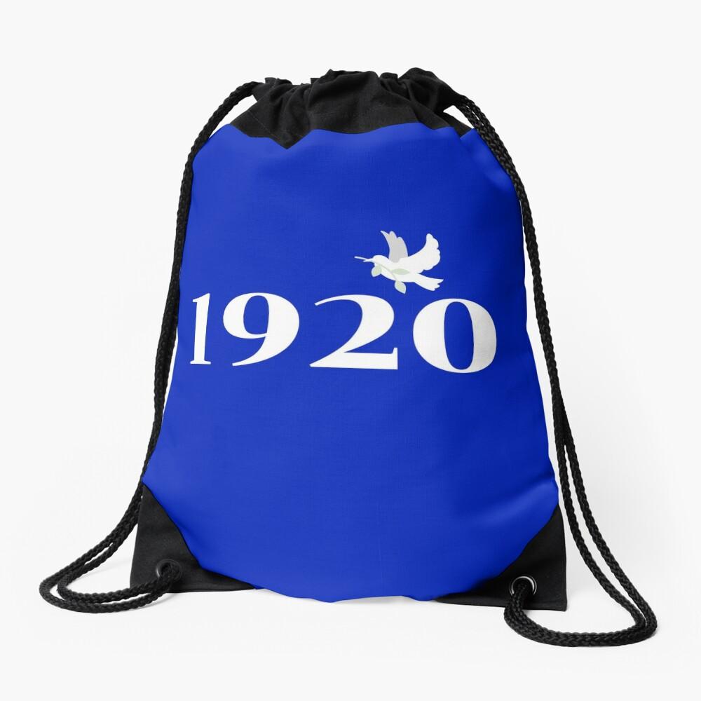 1920 White on Royal Blue Drawstring Bag Front