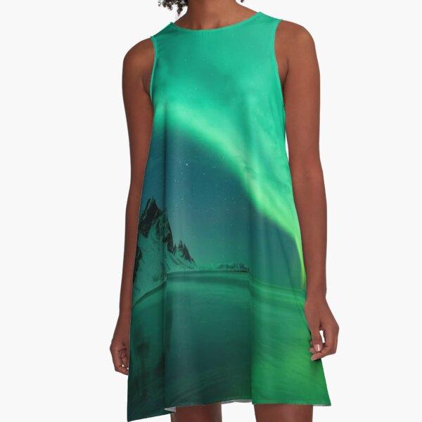 atmosphere, underwater, water, dark, landscape, nature, sea, light - natural phenomenon A-Line Dress