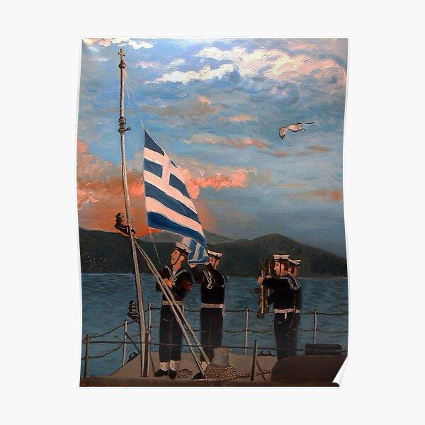 Sailors raising the flag Poster