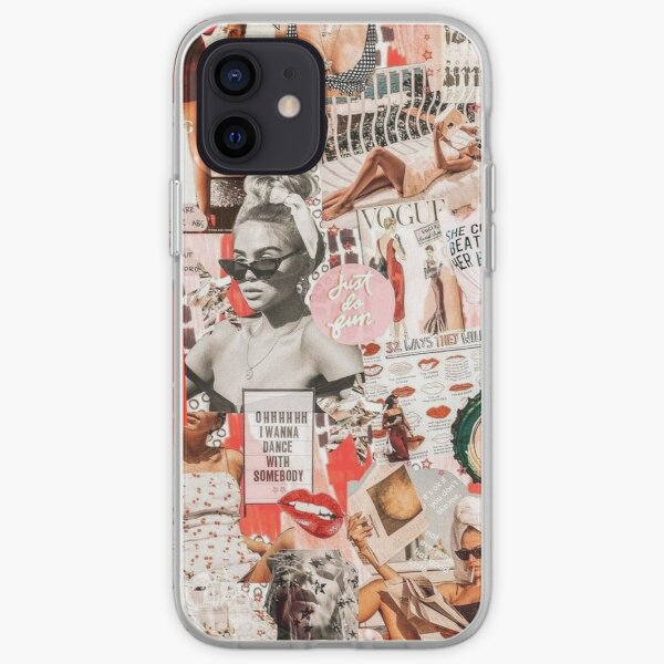 red retro collage  iPhone Soft Case