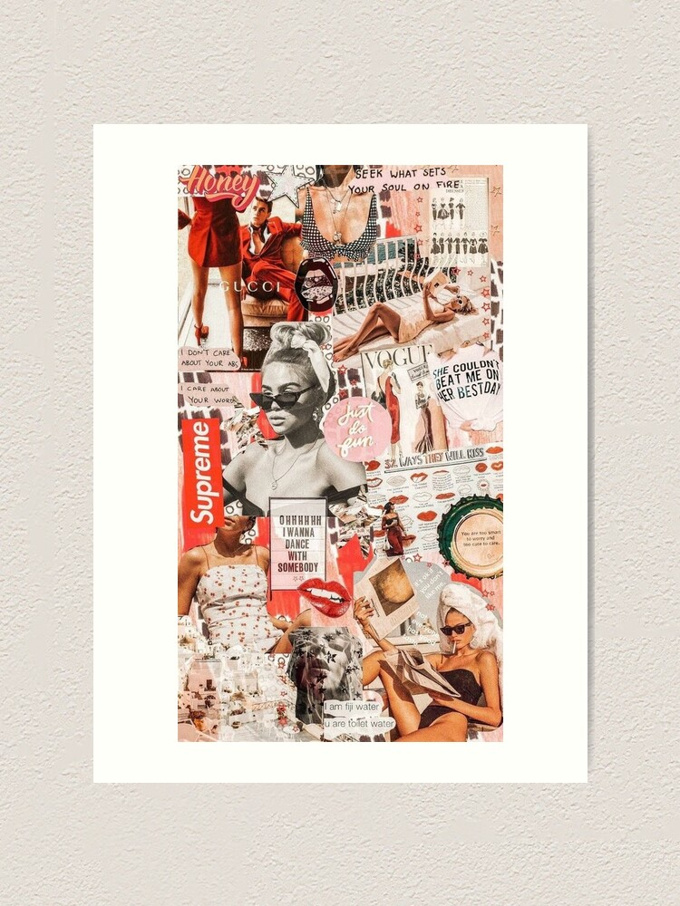 Alternate view of red retro collage  Art Print