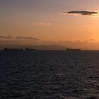 Cargo ships in the Saronic Gulf by Ian Maclellan