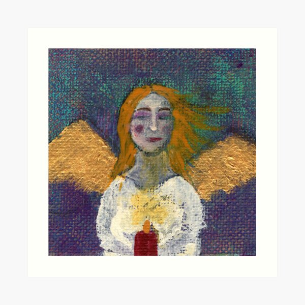 Angel with candle Art Print
