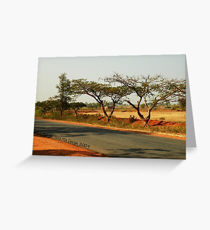 India Highway (with Tamarind Trees) Greeting Card