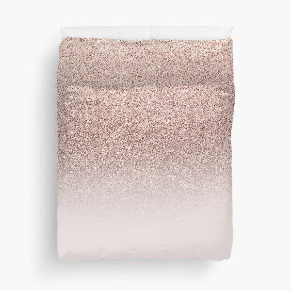 Trendy Modern Rose Gold Glitter Ombre Blush Pink  Duvet Cover
