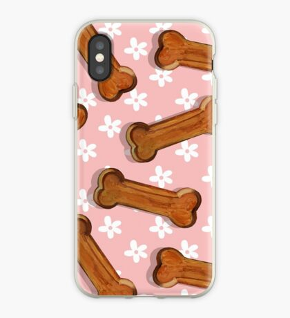 Dog Bone and Flowers Pattern by Robert Phelps iPhone Case