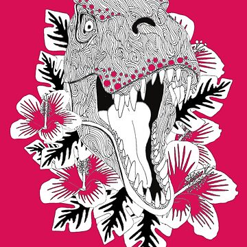 T Rex with Hawaiian flowers by Surrealist1