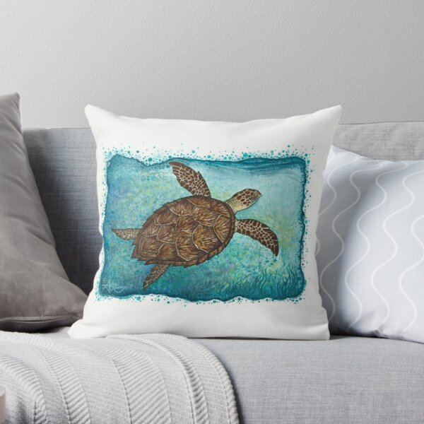 """""""Hawksbill Sea Turtle"""" by Amber Marine ~ Watercolor painting, art © 2016 Throw Pillow"""