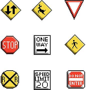 Pixel Street Signs by Zeeph