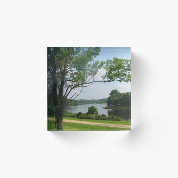 #landscape #tree #grass #water nature lake river summer wood outdoors environment reflection sky Acrylic Block