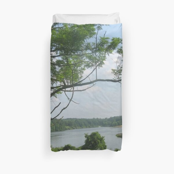 #landscape #tree #grass #water nature lake river summer wood outdoors environment reflection sky Duvet Cover