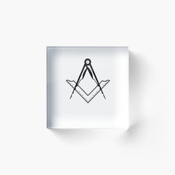 Freemasonic Square and Compass Acrylic Block