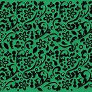 Black velvet on green silk by Ratherswell
