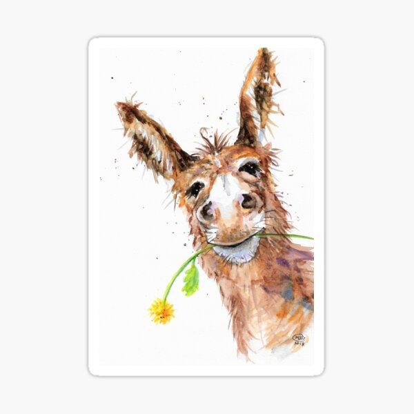 Cute Cheeky Donkey with Flower Sticker