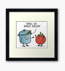 ¿Bailamos salsa? Le dice la olla al tomate Lámina enmarcada