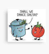 ¿Bailamos salsa? Le dice la olla al tomate Lienzo