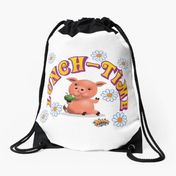 Lunch Time with piggy Drawstring Bag