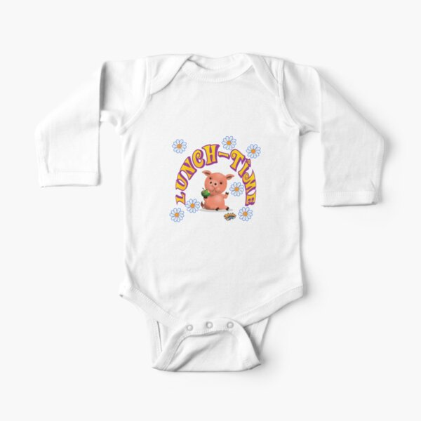 Lunch Time with piggy Long Sleeve Baby One-Piece