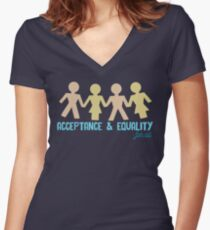 Acceptance & Equality for All Women's Fitted V-Neck T-Shirt