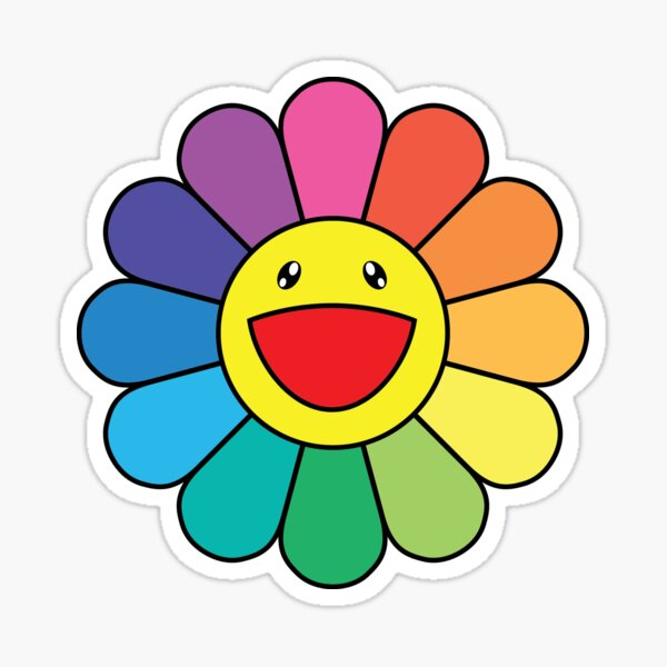 Takashi Murakami Happy Flower Pegatina