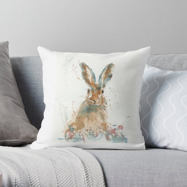 Startled hare Throw Pillow