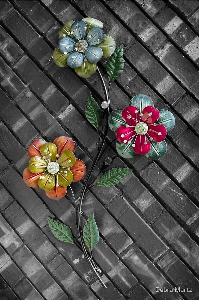 Wall Flowers on Gray Brick by Debra Martz