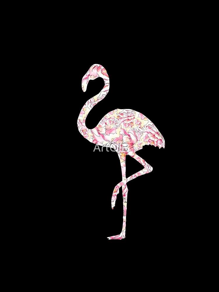 Flamingo y peonias de ArtOlB