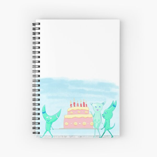 Monsters Carrying Cake Spiral Notebook