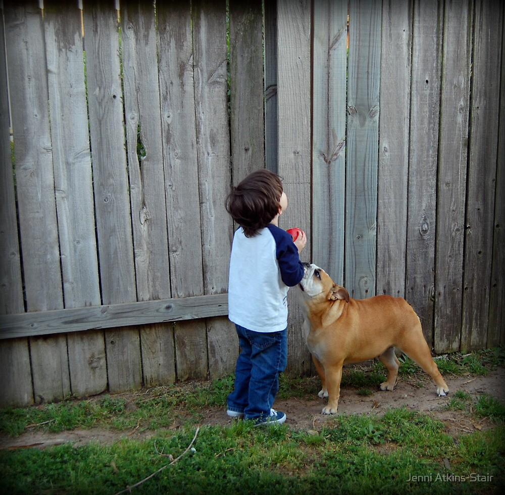 Little boy and his dog... by Jenni Atkins-Stair
