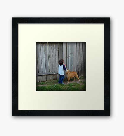Little boy and his dog... Framed Print