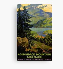 Adirondack Mountains Lake Placid Vintage Poster Restored Canvas Print