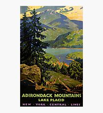 Adirondack Mountains Lake Placid Vintage Poster Restored Photographic Print