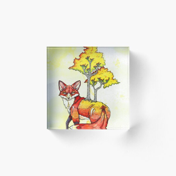 Forest Fox Acrylic Block