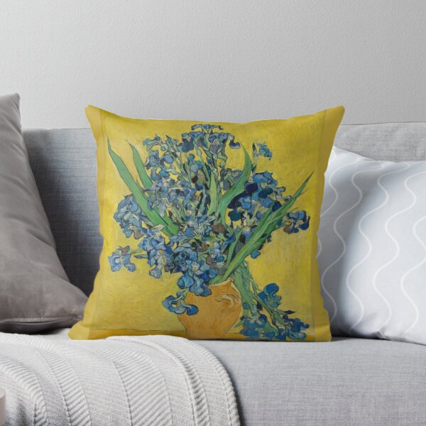 Vincent Van Gogh - Still Life, Vase with Irises Against a Yellow Background Throw Pillow
