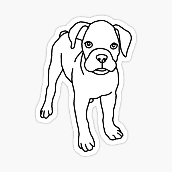 Boxer, dog, puppy, drawing Sticker
