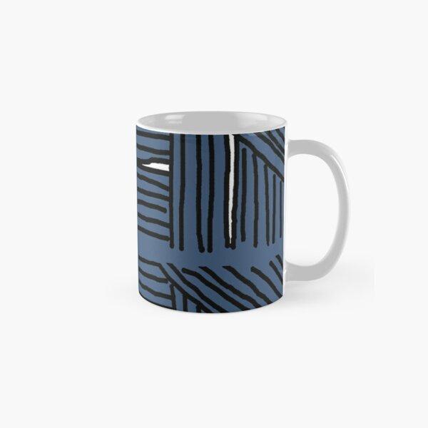 Line pattern black and blue gray Classic Mug