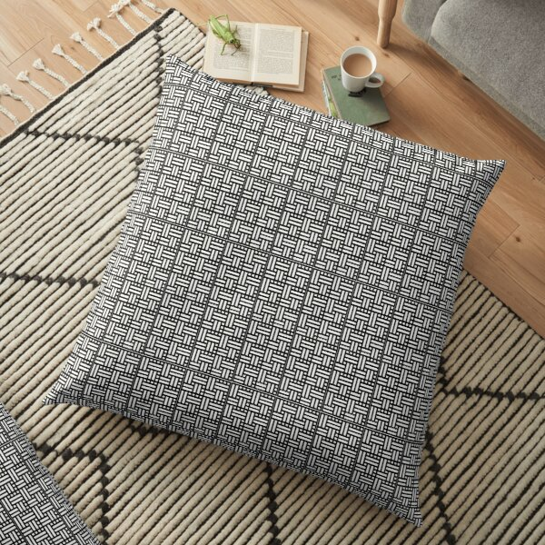 Basketweave black and white pattern Floor Pillow