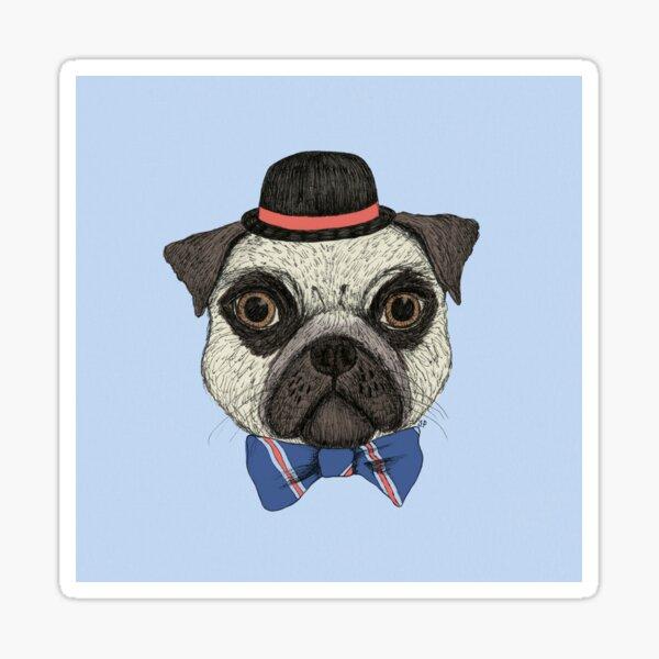 Pug in a bowler hat Sticker