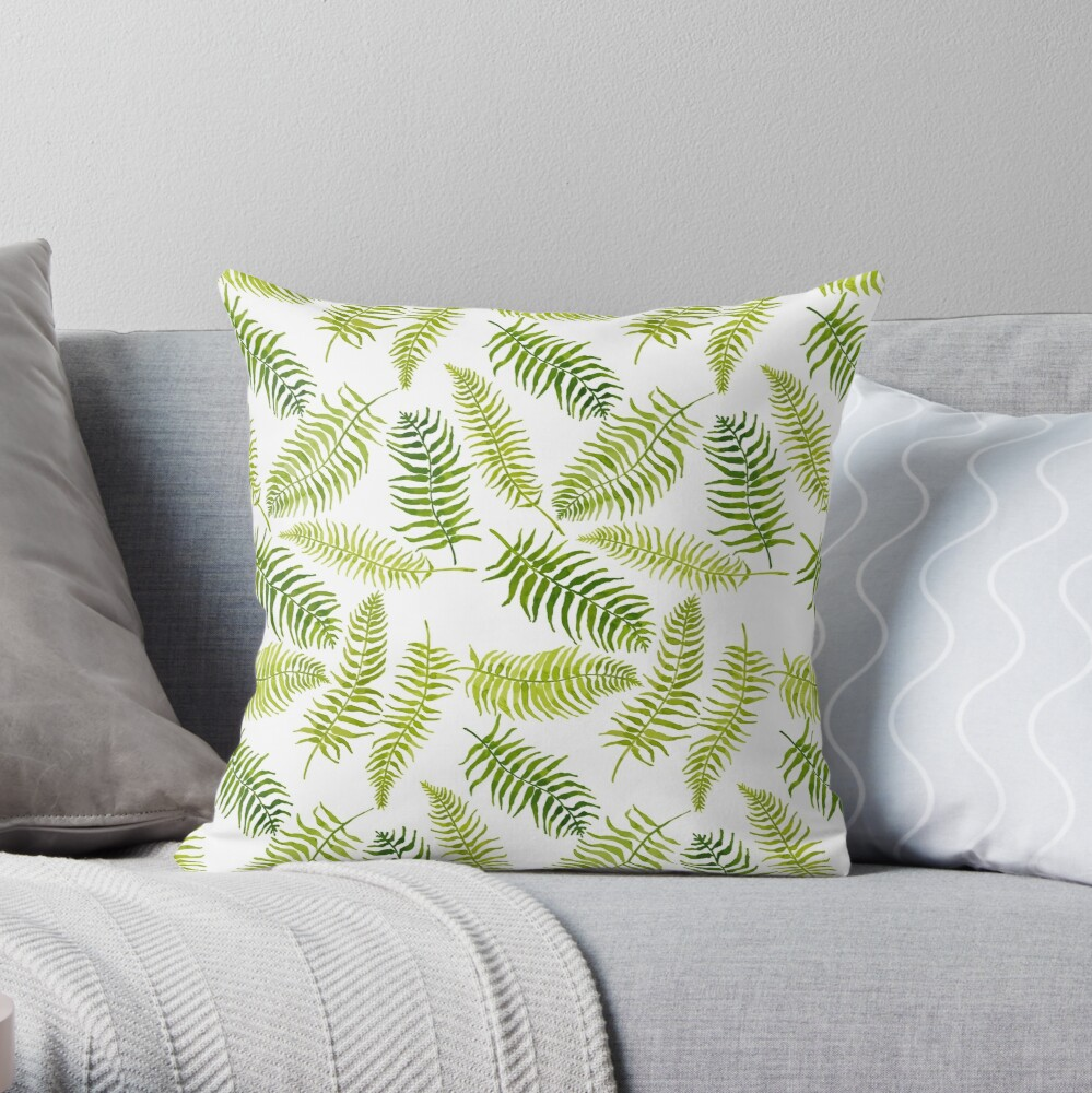 Fern Limelight Throw Pillow