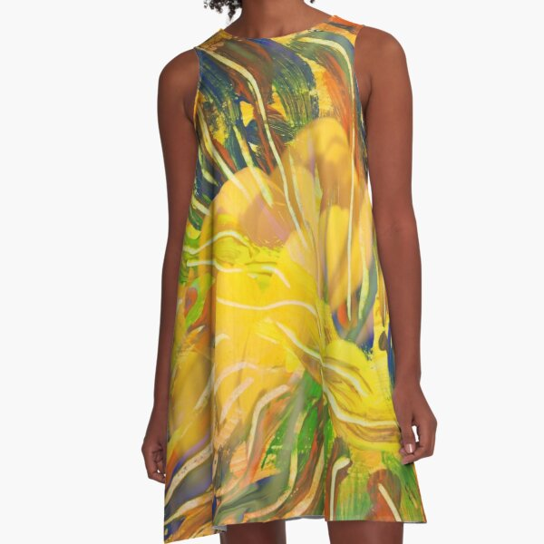 deep yellow flowers abstraction A-Line Dress