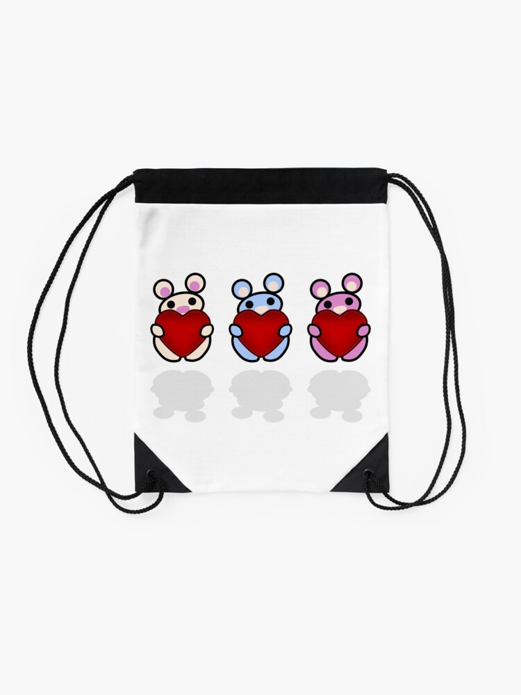 Alternate view of Three Chibis: Hearts Drawstring Bag